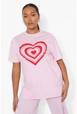 Pink Plus Heart Graphic T-shirt