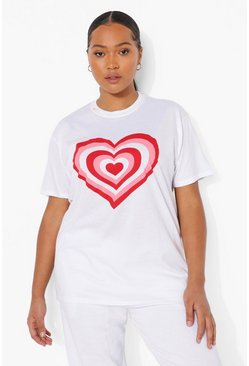 White Plus Heart Graphic T-shirt