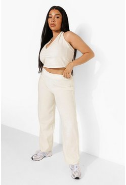 Plus Velour Halter Neck and Wide Leg Co-ord, Ecru blanco