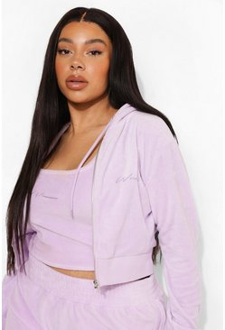 Plus Cropped Velour Embroidered Hoodie , Lilac morado