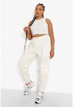 Ecru white Plus Multi Pocket Cuffed Cargo Pants
