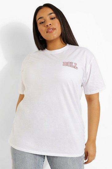 White Plus Oversized Slogan Print T-Shirt