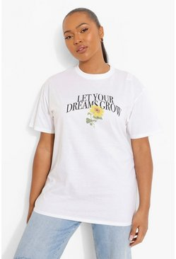T-shirt Plus con scritta Let Your Dreams Grow, Bianco