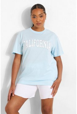 Baby blue blue Plus California Graphic T-Shirt