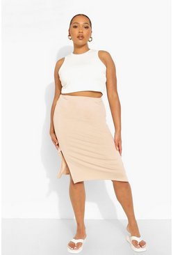 Stone beige Plus Jersey Split Midi Skirt