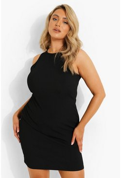 Black Plus Rib Bodycon Dress