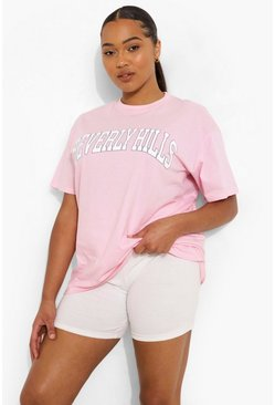 Plus Beverly Hills Slogan T-shirt, Baby pink rosa