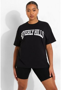 T-shirt Plus con scritta Beverly Hills, Nero