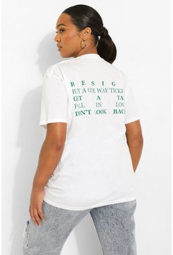 White Plus Graphic Back Print T-shirt