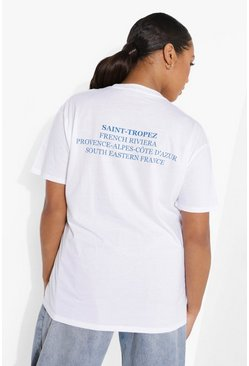 White Plus Saint Tropez Slogan T-shirt