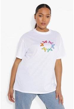 White Plus Rainbow Butterfly T-shirt