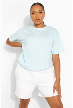 Baby blue blue Plus Cote D'azur Embroidered T-shirt