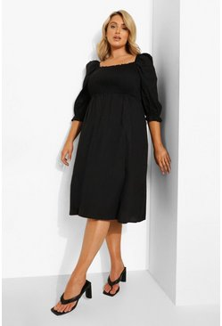 Black Plus Cotton Shirred Puff Sleeve Midi Dress