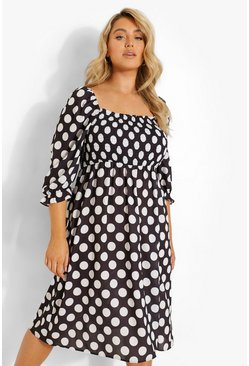Black Plus Polka Dot Shirred Puff Sleeve Midi Dress