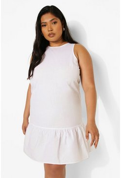 White Plus Cotton Frill Hem Shift Dress