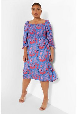 Blue Plus Puff Sleeve Floral Midi Dress