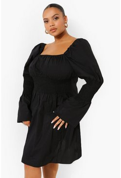Black Plus Cotton Puff Sleeve Smock Dress
