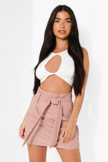 Blush pink Petite Tie Waist Mini Skirt