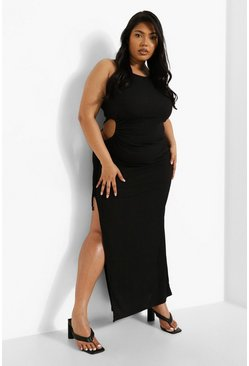 Black Plus Rib Cut Out Maxi Dress