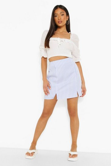 Blue Petite Woven Gingham Mini Skirt