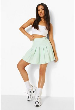 Mint green Petite Split Pleated Tennis Skirt