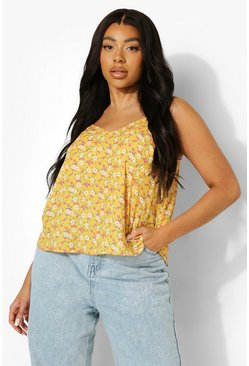 Yellow Plus Ditsy Floral Woven Cami