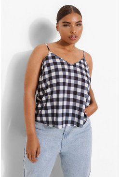 Black Plus Gingham Woven Cami