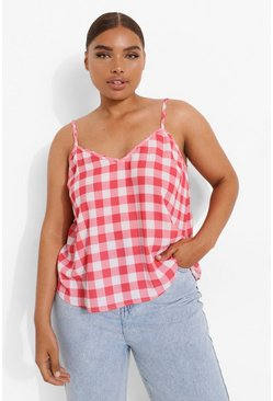 Red Plus Gingham Woven Cami