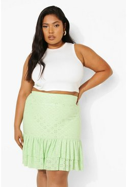 Sage green Plus Eyelet Ruffle Mini Skirt