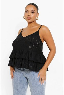 Black Plus Jersey Broderie Tiered Cami