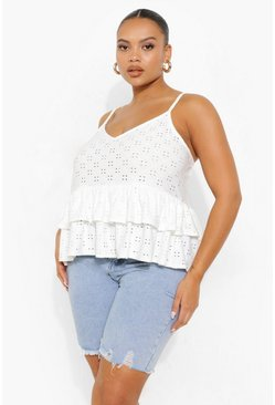 White Plus Jersey Broderie Tiered Cami