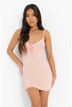 Blush Petite Ruffle Hem Tie Front Bodycon Dress