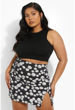 Black Plus Ditsy Floral Side Split Mini Skirt