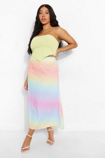 Multi Plus Matte Satin Ombre Slip Skirt