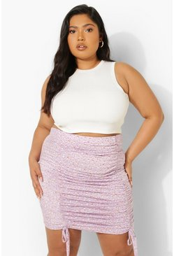 Lilac purple Plus Ditsy Floral Ruched Mini Skirt