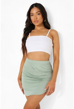 Sage green Petite Ruched Side Mini Skirt