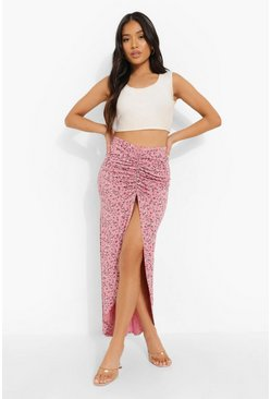 Pink Petite Floral Print Ruched Side Maxi Skirt