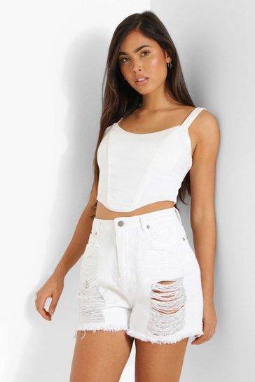 White Petite Extreme Laddered Denim Shorts
