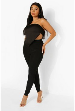 Plus Slinky Ruched Detail Legging, Black negro