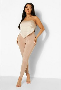 Stone beige Plus Slinky Ruched Detail Legging
