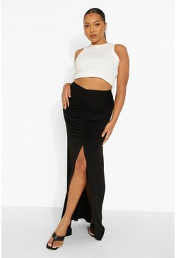 Black Plus Ruched Front Maxi Skirt