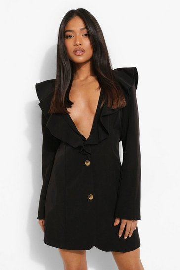 Black Petite Ruffle Detail Blazer Dress