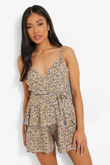 Mustard yellow Petite Ditsy Floral Tie Detail Playsuit