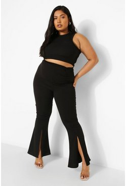 Black Plus Ruched Tailored Trouser
