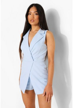 Sky Petite Sleeveless Wrap Blazer Playsuit