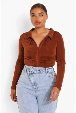 Chocolate brown Plus Textured Slinky Ruched Bodysuit