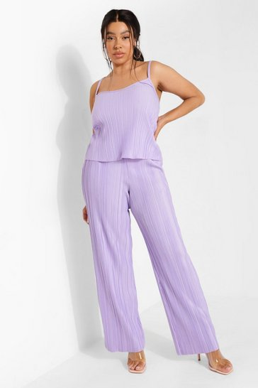 Lilac purple Plus Plisse Wide Leg Trousers