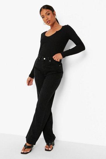 Black Petite Basic Boyfriend Fit Jeans