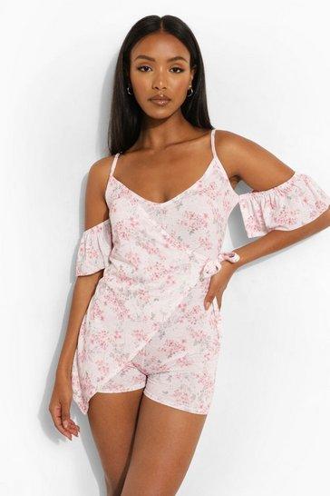 Pink Petite Wrap Cold Shoulder Floral Playsuit
