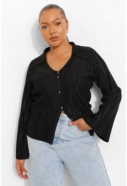 Black Plus Plisse Flare Sleeve Shirt